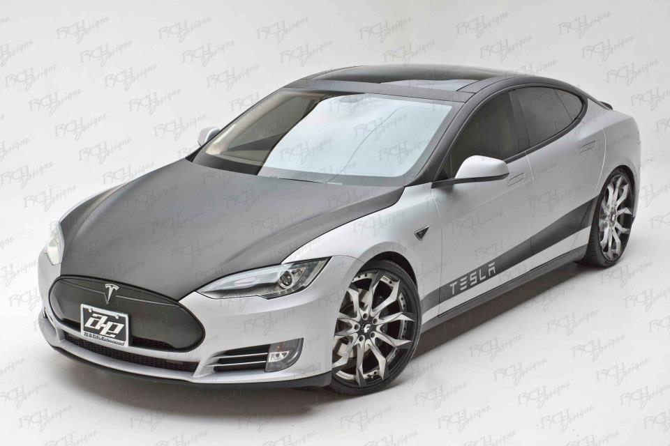 Tesla Model S Wrapped in Carbon Fiber and Stealth