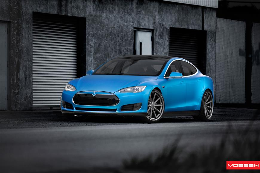 Tesla Model S Wrapped Matte Blue Vossen
