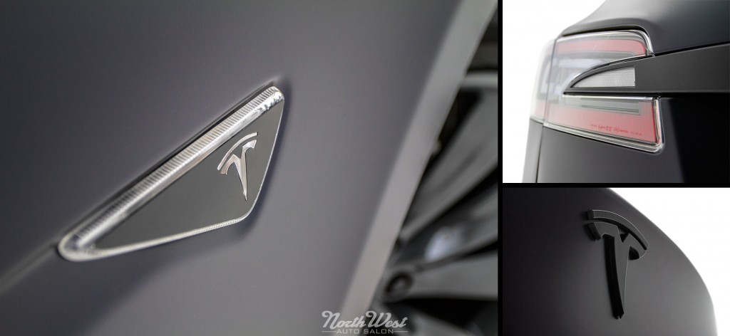 Tesla Model S Wrapped Stealth Emblems