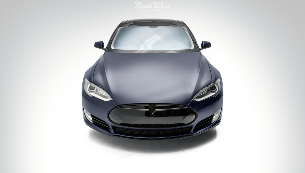 Tesla Model S Wrapped Stealth Front