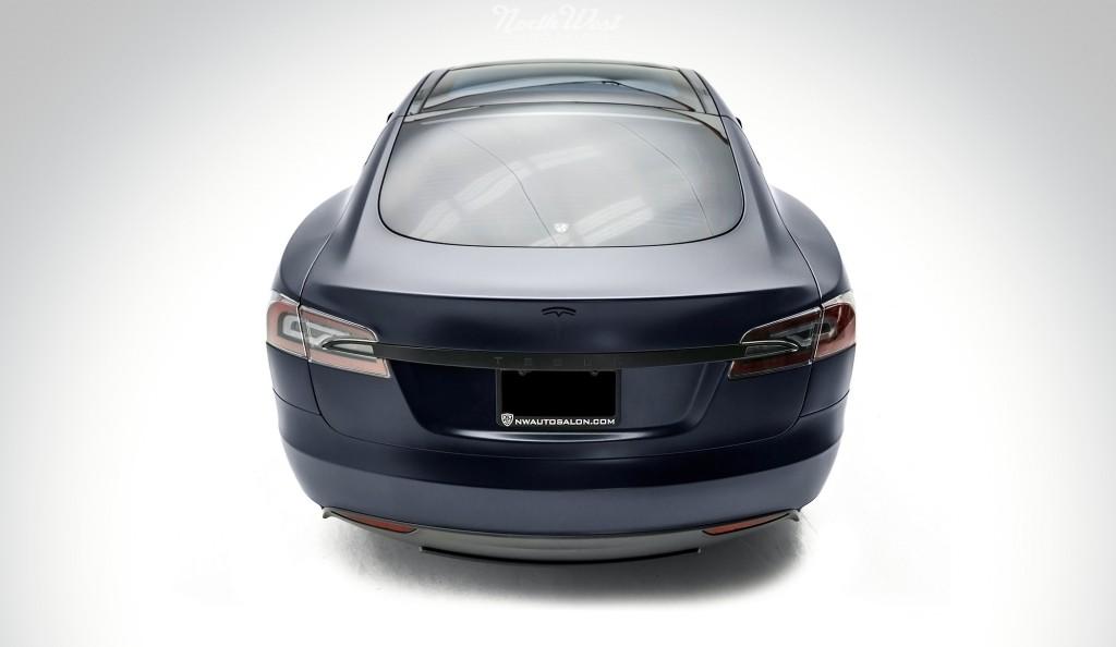 Tesla Model S Wrapped Stealth Rear