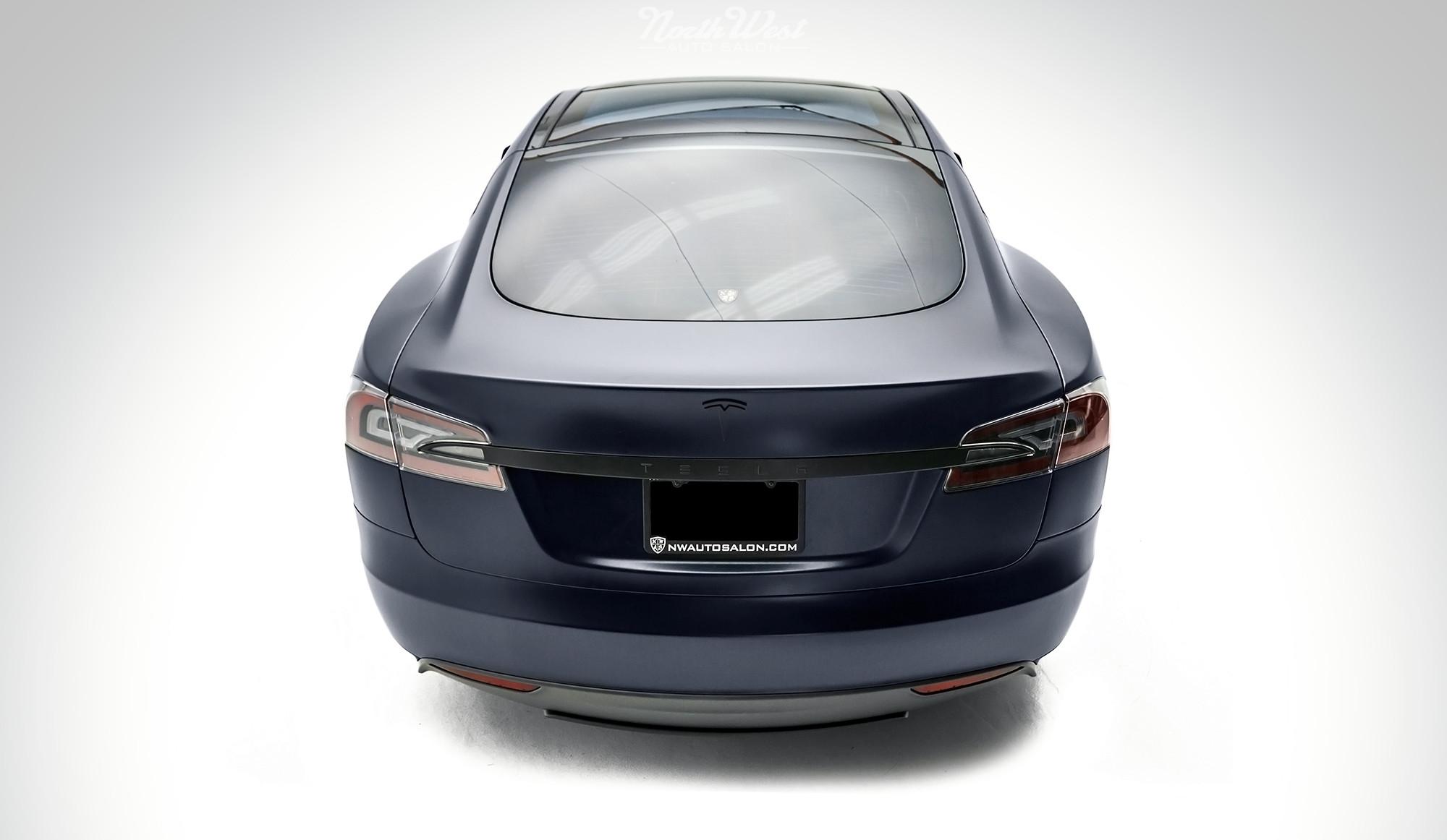 Tesla Model S Stealth Wrapped Rear