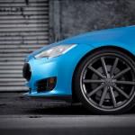 Tesla Model S Vossen Aftermarket Wheels Front Close Up