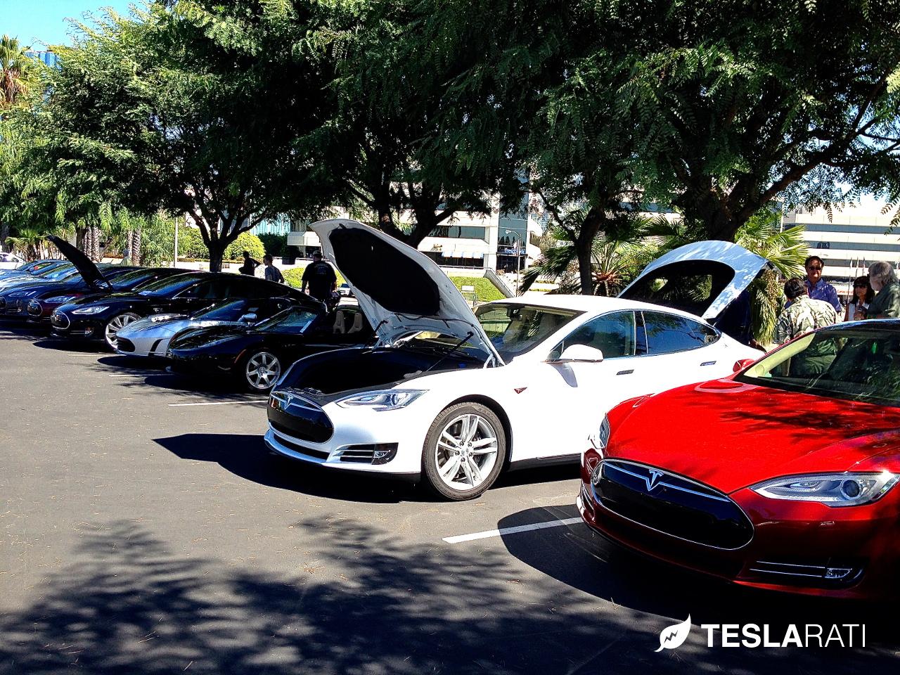 White Tesla Frunk Open