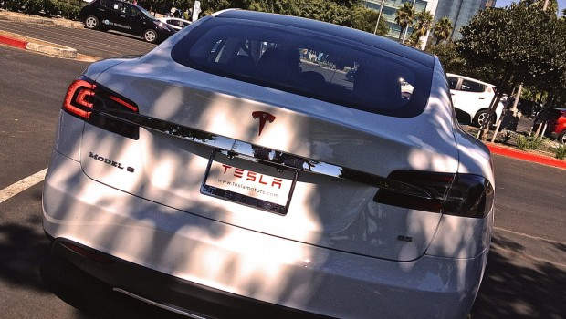 Tesla Model S Red Emblem Rear