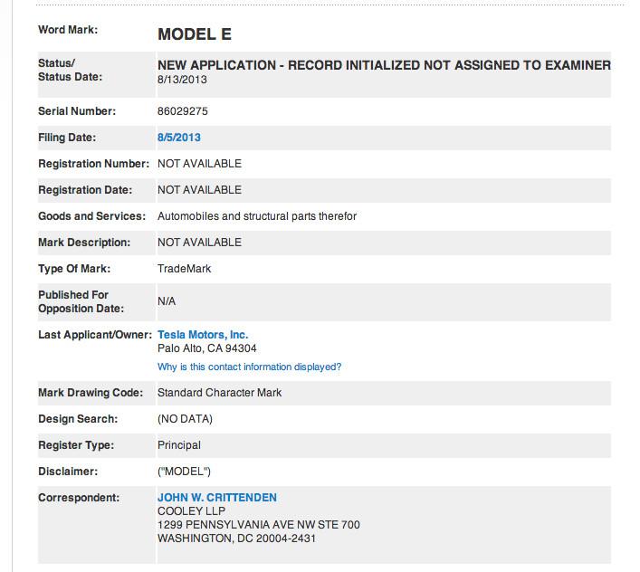 Tesla Model E Trademark
