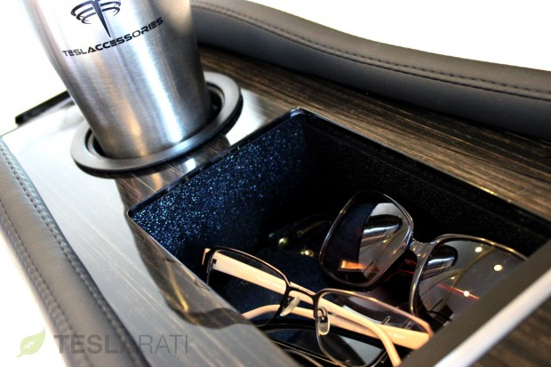 Teslaccessories Model S Center Console Insert (CCI) Obeche Wood Gloss Deep Storage