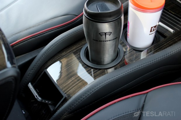 Teslaccessories Model S Center Console Insert (CCI) Obeche Wood Gloss X2 Mugs and Phone