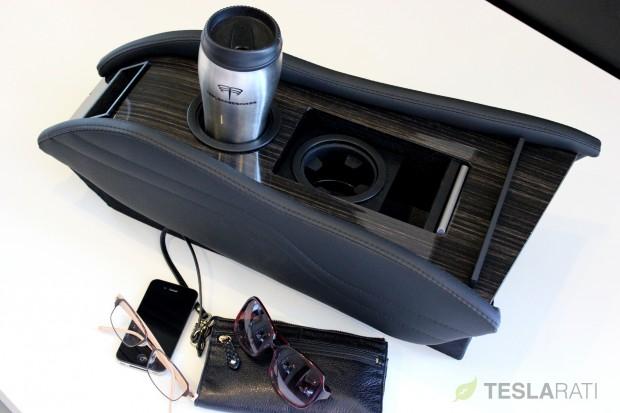Teslaccessories Model S Center Console Insert (CCI) Obeche Wood Gloss X2 Storage