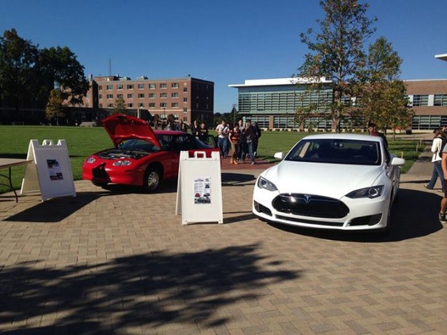 GM EV1 and Tesla Model S electric cars, at Worcester Polytechnic Institute, Worcester, MA, Oct 2013