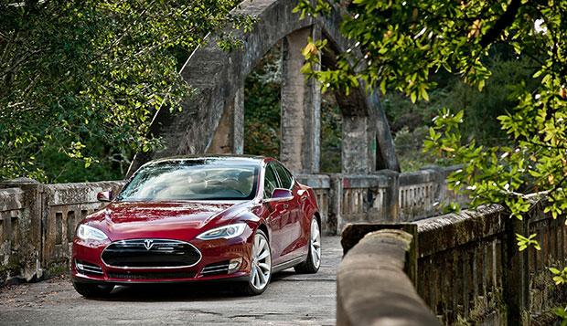 Tesla Model S crossing bridge