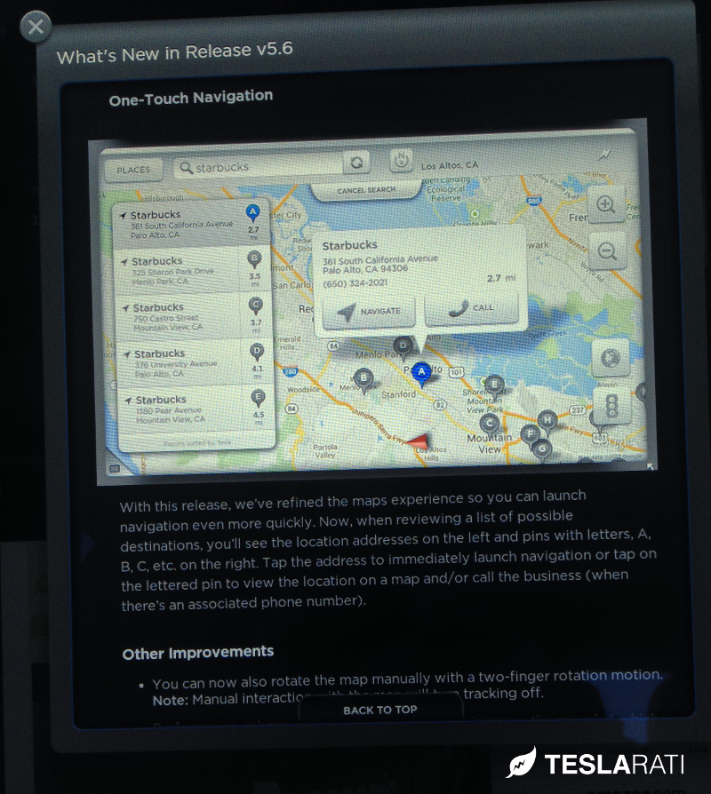 Tesla Model S Firmware 5.6 One Touch Navigation