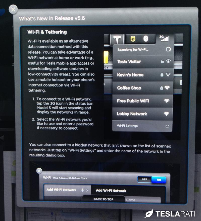 Tesla Model S Firmware 5.6 Wifi Tethering