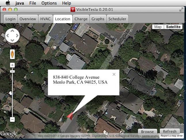 VisibleTesla App Vehicle Location