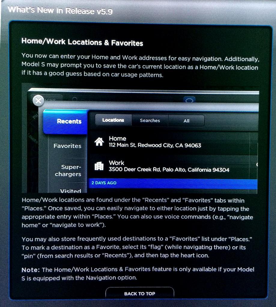 Tesla Firmware 5.9 Favorites