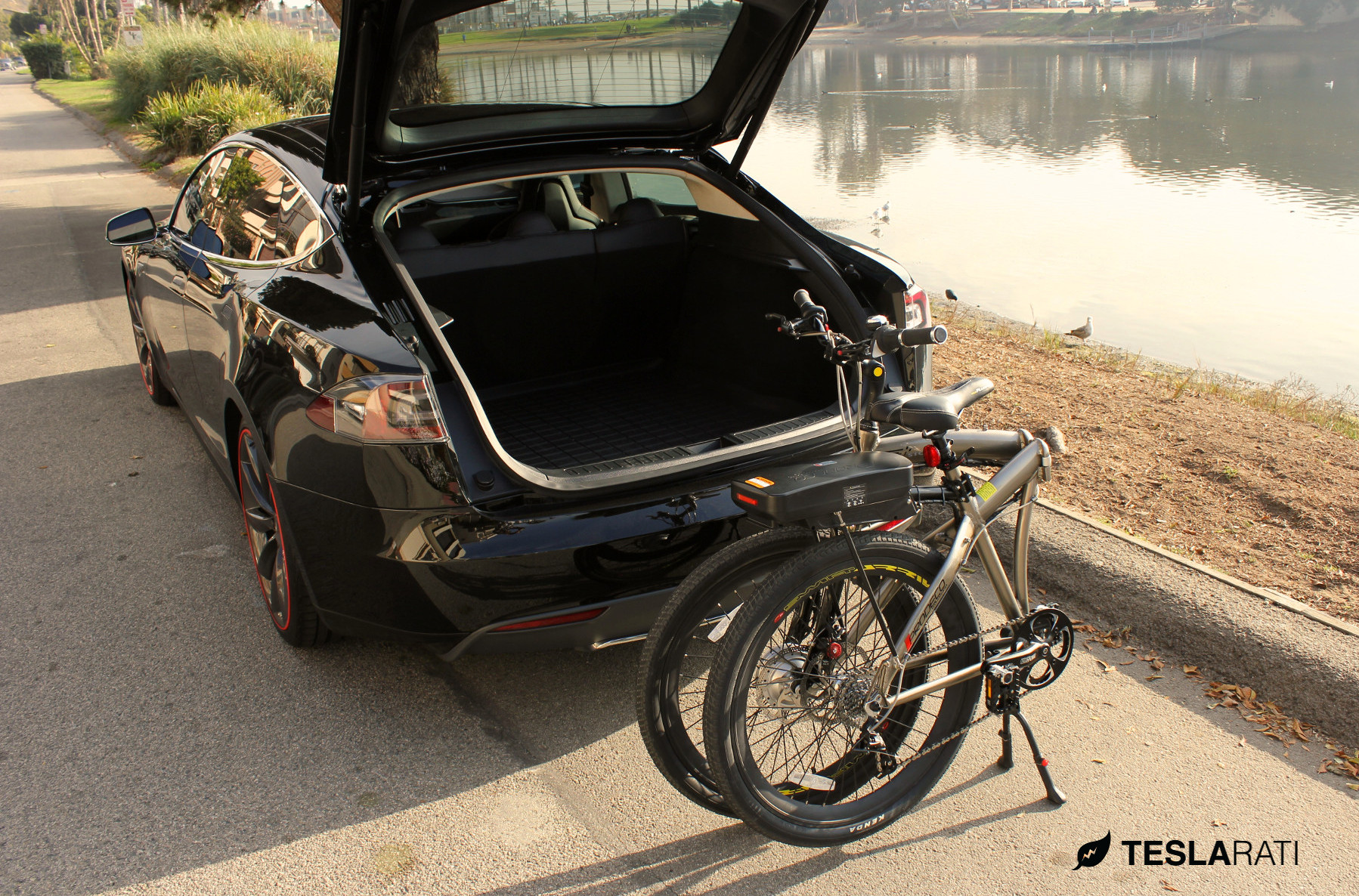 Full Size Folding Electric Bike In A Tesla Model S