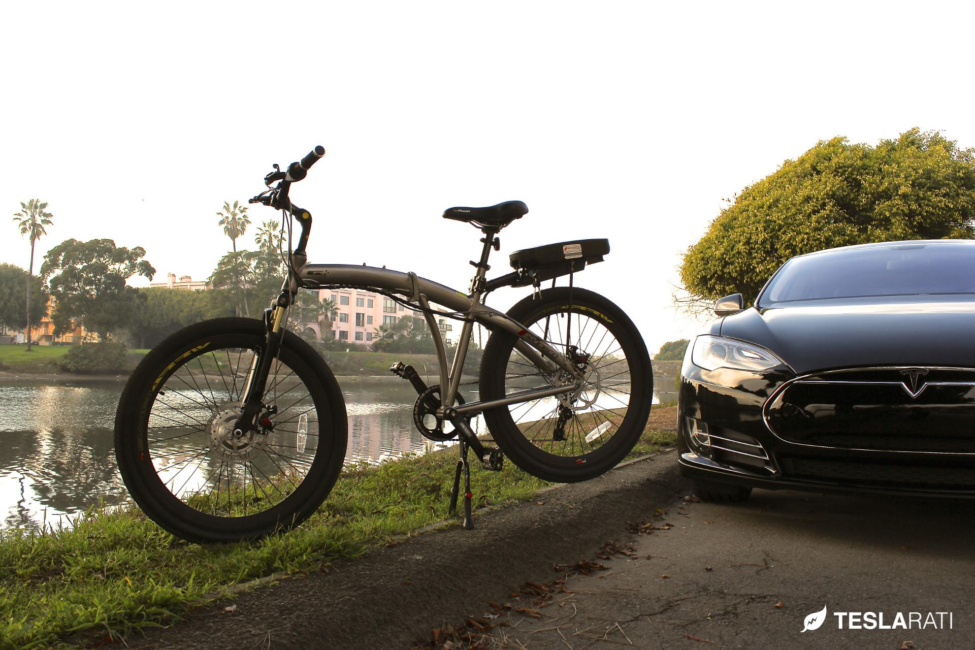 Full Size Folding Electric Bike In A Tesla Model S