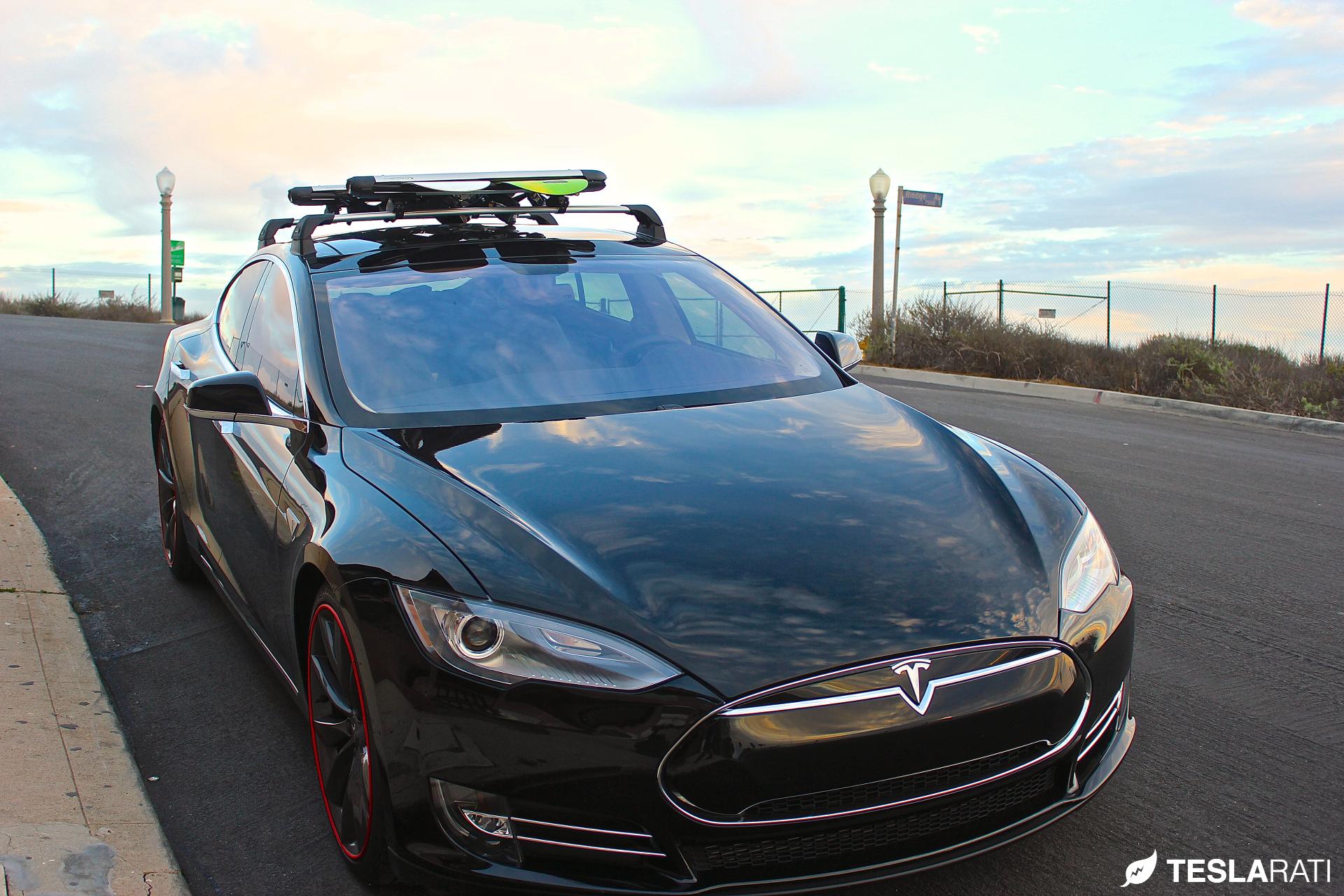 S37W+K930 Tesla Model S Whispbar SILVER Flush Roof Racks To fit 2015 onwards