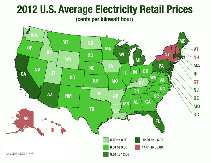 Electricity-Prices-by-State-Map