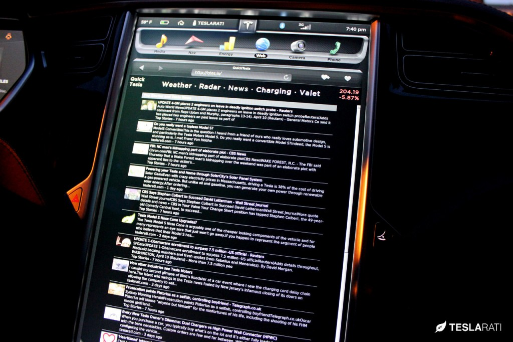 Quick Tesla App News: Tesla Model S Web Browser