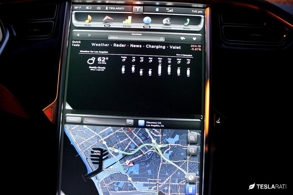 Quick Tesla App Weather: Tesla Model S Web Browser