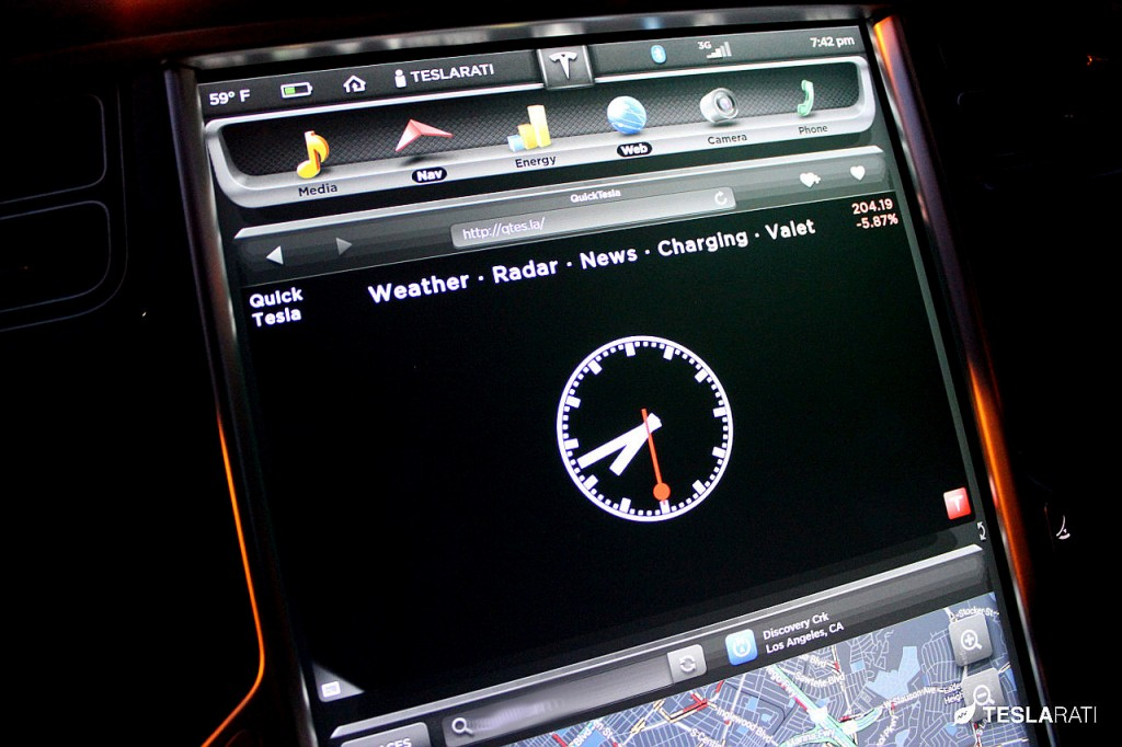 Quick Tesla App Clock: Tesla Model S Web Browser