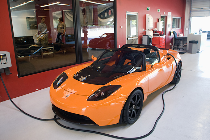 Tesla Roadster Orange