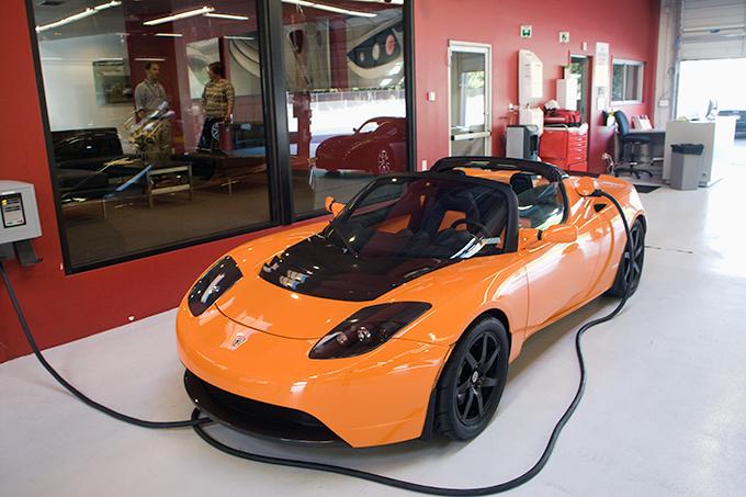 Tesla Roadster Orange