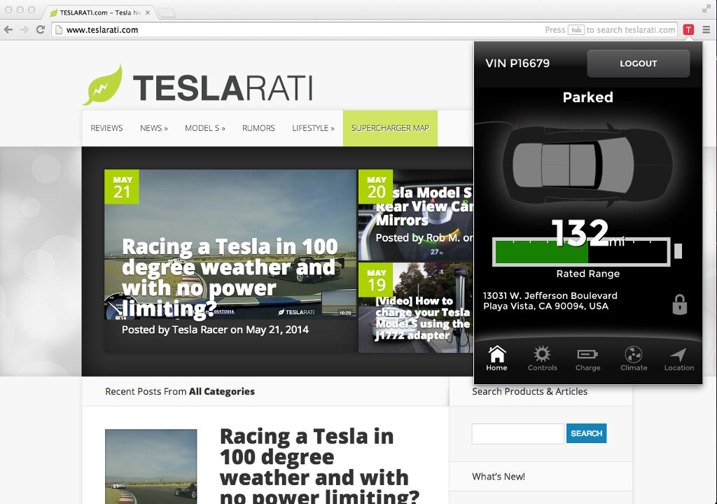 Finally a Browser App for Managing the Tesla Model S