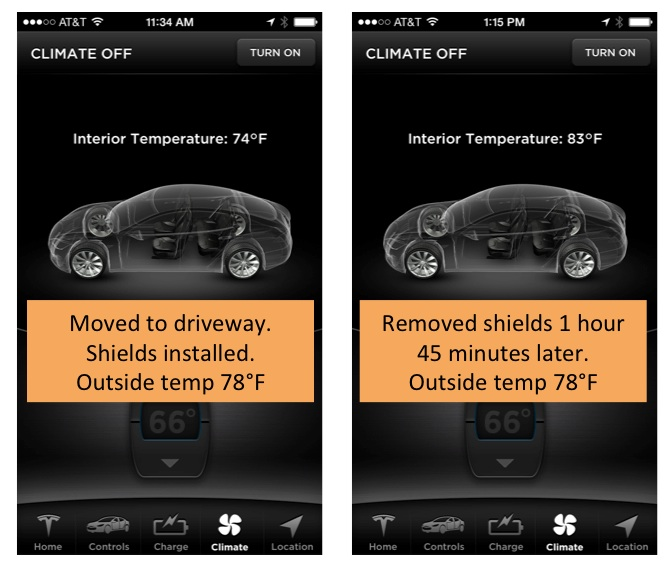 Tesla Model S Heatshield Sunshade Shades Installed
