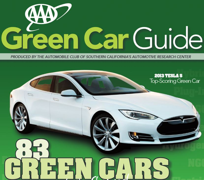 AAA finds the Tesla Model S greenest car
