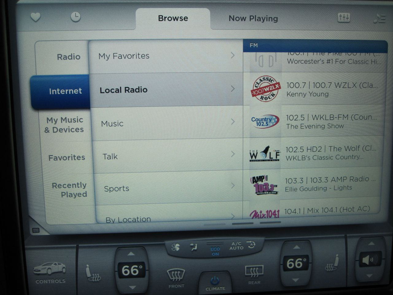 What is TuneIn Radio on the Tesla Model S?