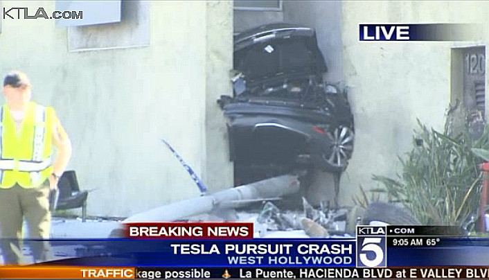 Stolen Tesla Model S sliced in half