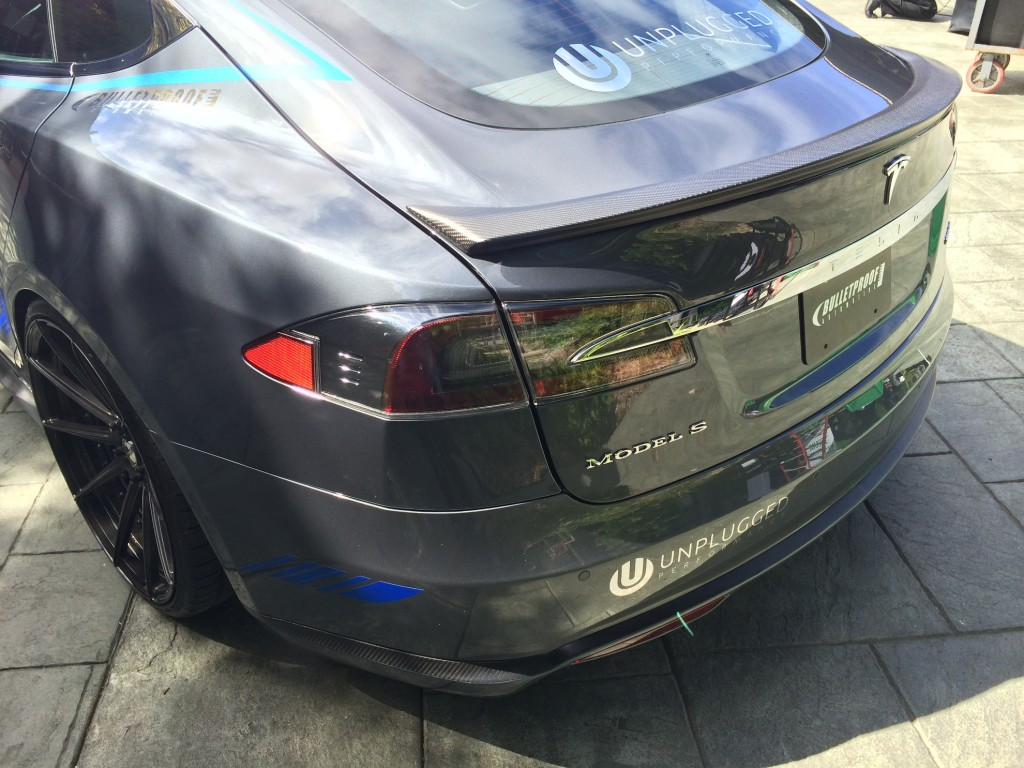 Tesla Model S aftermarket body kit spoiler by Unplugged Performance