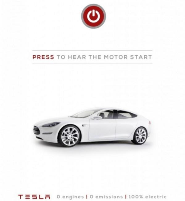 Tesla advertises