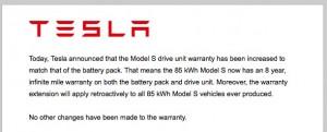 Tesla Infinite Warranty