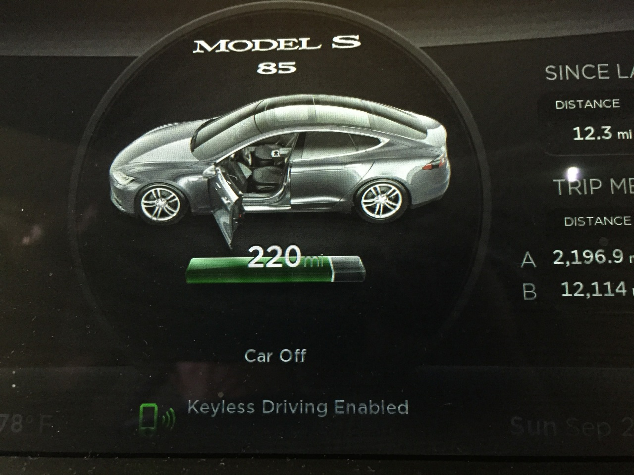 Keyless indicator on dash