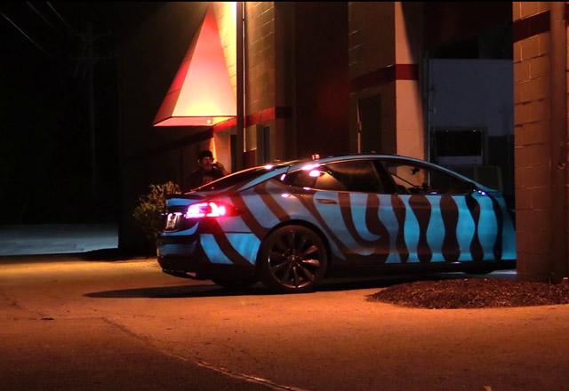 Custom Tesla Model S Glows With Electric Paint