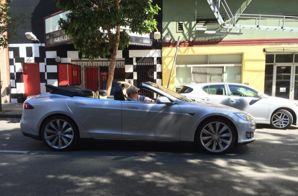 Tesla Model S convertible on the streets of San Francisco