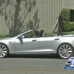 Tesla Model S convertible top down