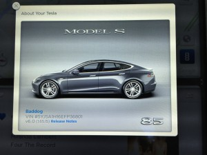 Tesla Model S VIN on Touchscreen