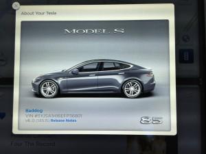 Tesla Model S VIN on Touchscreen