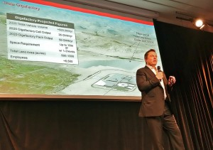 Tesla's CEO, Elon Musk discussing the footprint of the Gigafactory plant and its energy needs.