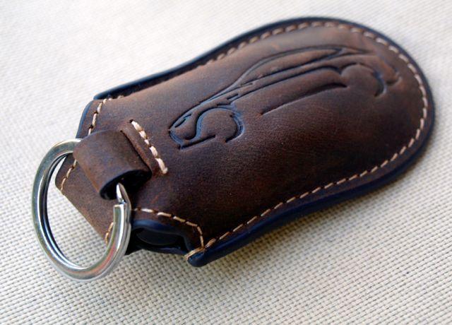 Rustic Leather Tesla Model S Key Fob Holder