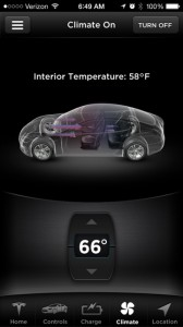 Preheating the cabin temperature through the mobile Tesla Motors app.