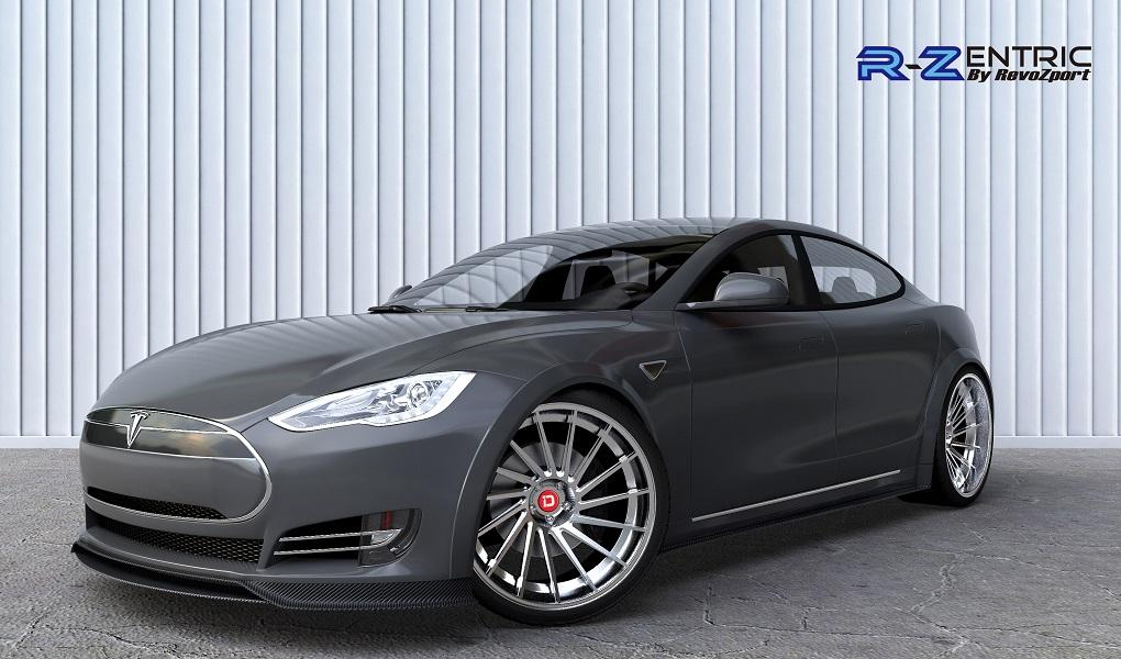 RevoZport-Tesla-Carbon-Fiber-Body-Kit-Black-Front