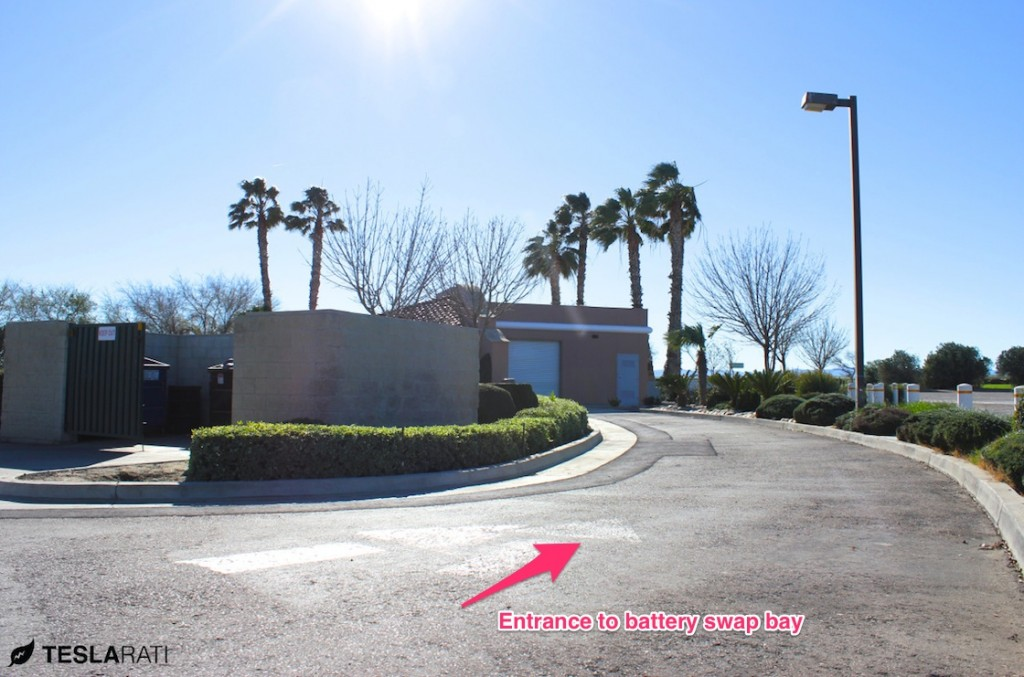 Entryway into the Tesla Battery Swap Station at Harris Ranch