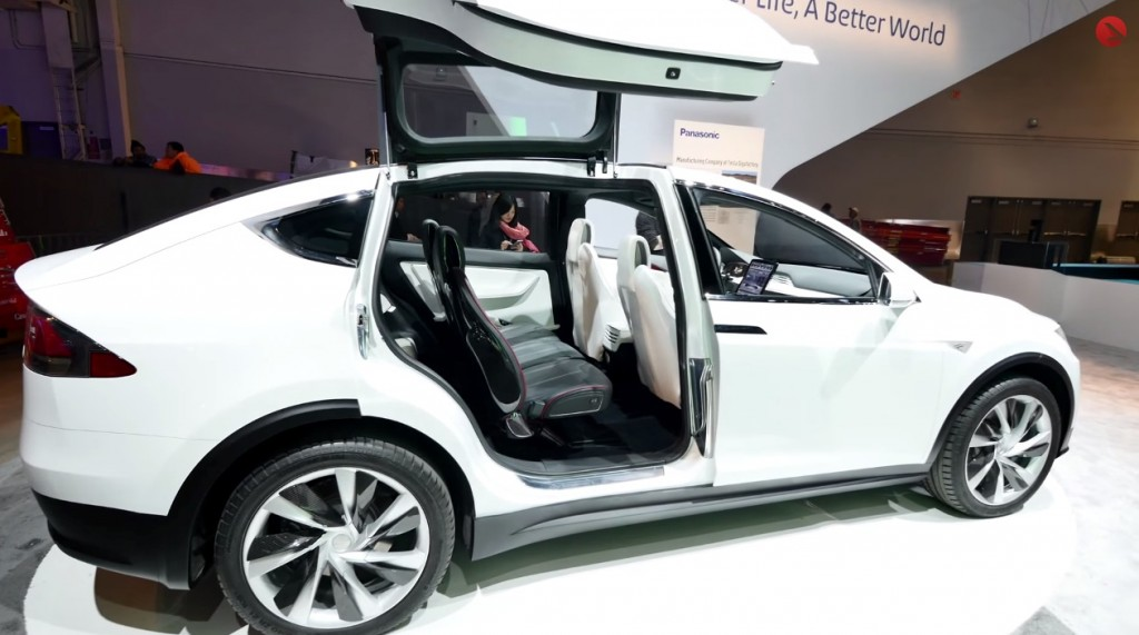 Tesla Model X sighting at CES 2015 (falcon wing doors)