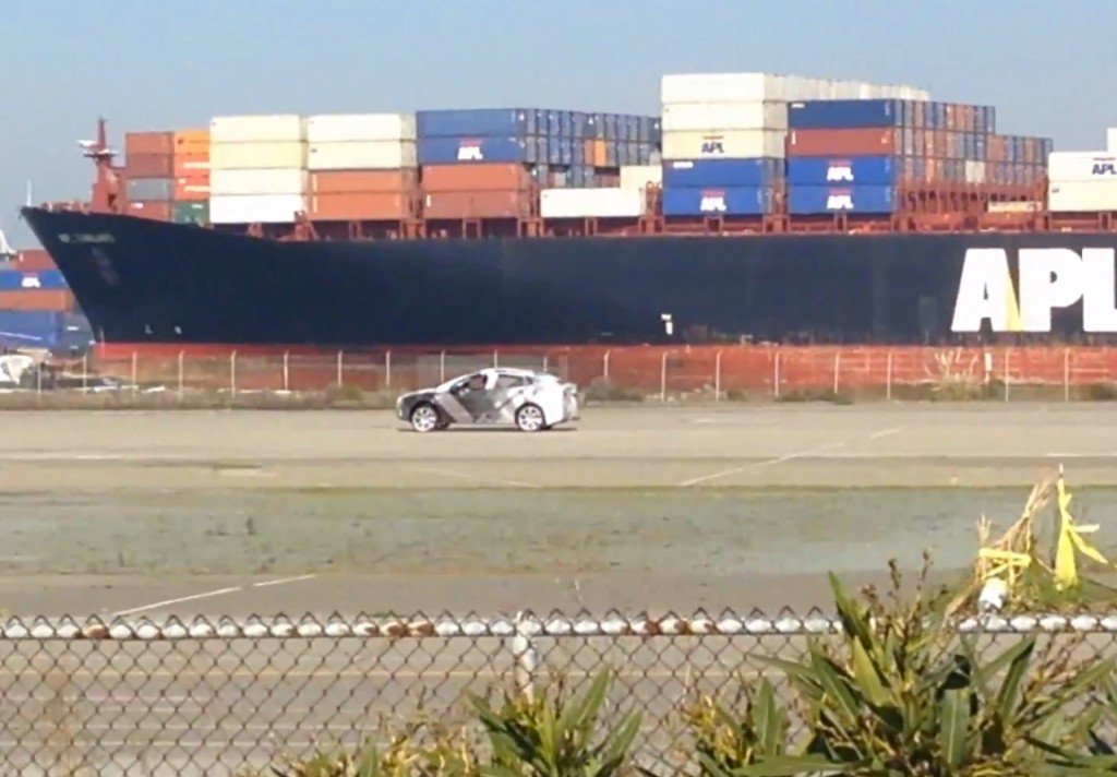 Tesla Model X sighting spy shot at the Alameda Naval air station.