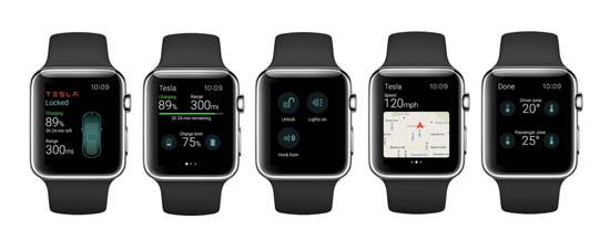 The Tesla Motors Apple Watch app offers four screens that offer control and monitoring capability. (Source: ELEKS)
